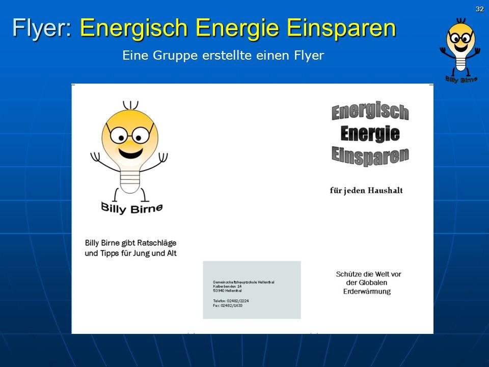 32 Flyer: Energisch Energie Einsparen Eine Gruppe erstellte einen Flyer