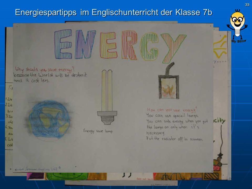 33 Energiespartipps im Englischunterricht der Klasse 7b