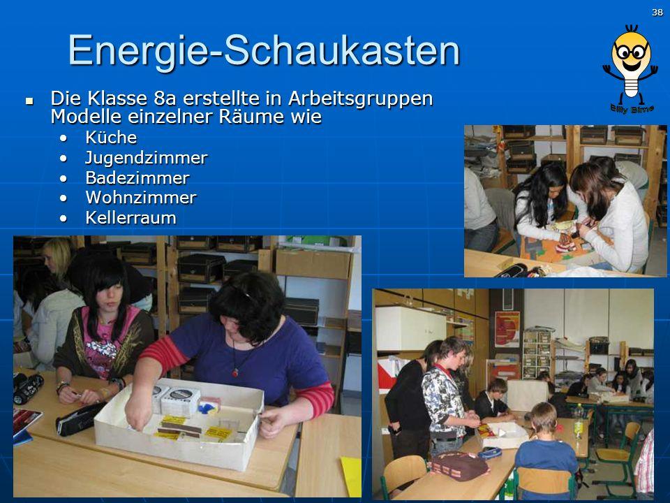 38 Energie-Schaukasten Die Klasse 8a erstellte in Arbeitsgruppen Modelle einzelner Räume wie Die Klasse 8a erstellte in Arbeitsgruppen Modelle einzeln