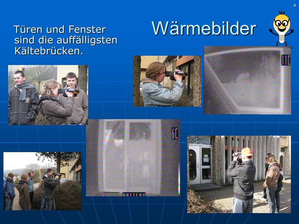 5 Wärmebilder Küche und Durchgang zum Altbau: besonders hohe Wärmeverluste, weil die Heizkörper unmittelbar hinter den Fensterscheiben stehen