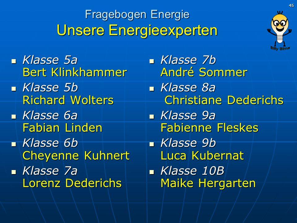 45 Fragebogen Energie Unsere Energieexperten Klasse 5a Bert Klinkhammer Klasse 5a Bert Klinkhammer Klasse 5b Richard Wolters Klasse 5b Richard Wolters