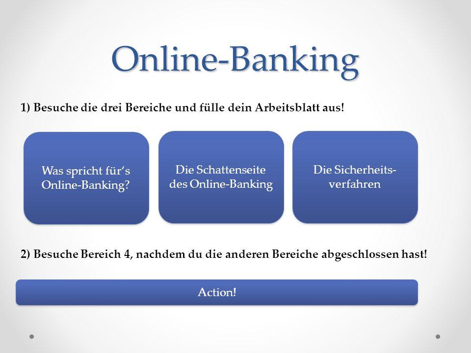Online-Banking 1) Besuche die drei Bereiche und fülle dein Arbeitsblatt aus! 2) Besuche Bereich 4, nachdem du die anderen Bereiche abgeschlossen hast!
