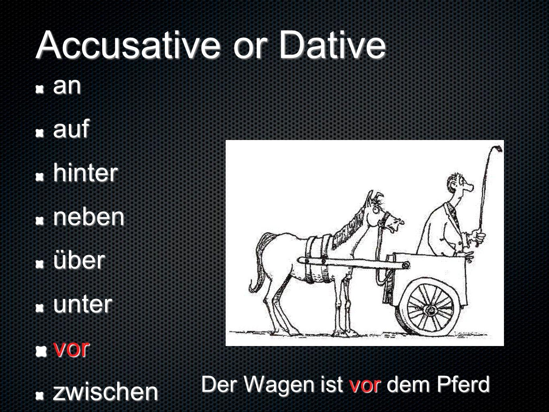 Accusative or Dative anaufhinternebenüberuntervorzwischen Der Wagen ist vor dem Pferd
