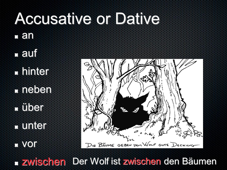 Accusative or Dative anaufhinternebenüberuntervorzwischen Der Wolf ist zwischen den Bäumen