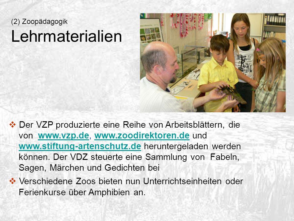 (2) Zoopädagogik Lehrmaterialien Der VZP produzierte eine Reihe von Arbeitsblättern, die von www.vzp.de, www.zoodirektoren.de und www.stiftung-artensc