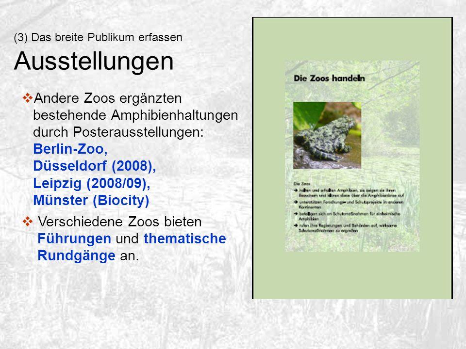 (3) Das breite Publikum erfassen Ausstellungen Andere Zoos ergänzten bestehende Amphibienhaltungen durch Posterausstellungen: Berlin-Zoo, Düsseldorf (