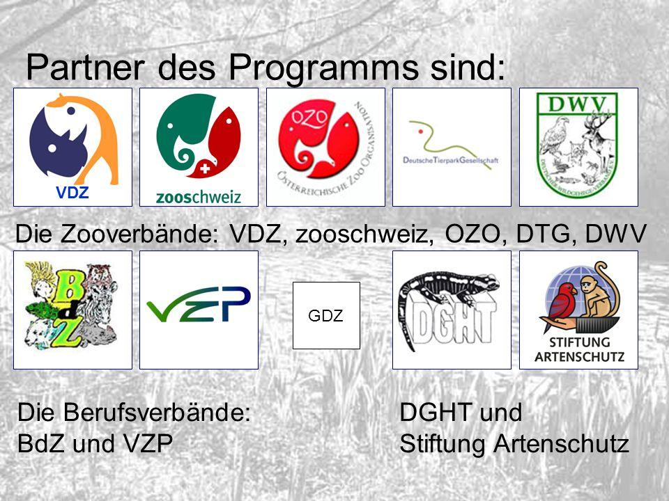 Partner des Programms sind: VDZ Die Zooverbände: VDZ, zooschweiz, OZO, DTG, DWV Die Berufsverbände: BdZ und VZP DGHT und Stiftung Artenschutz GDZ