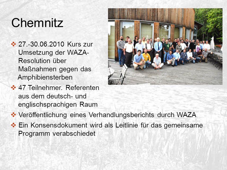 Chemnitz 27.-30.06.2010 Kurs zur Umsetzung der WAZA- Resolution über Maßnahmen gegen das Amphibiensterben 47 Teilnehmer. Referenten aus dem deutsch- u