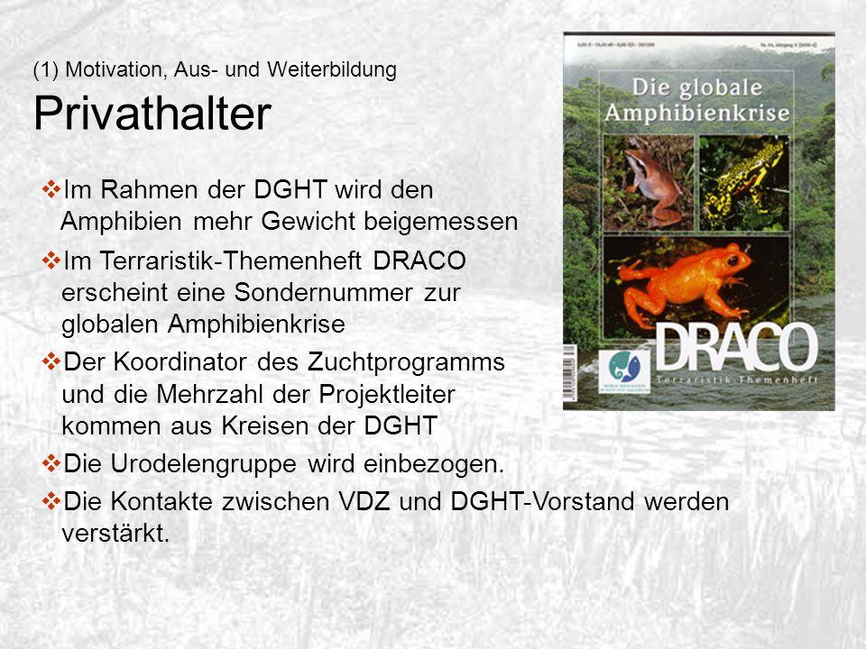 (1) Motivation, Aus- und Weiterbildung Privathalter Im Rahmen der DGHT wird den Amphibien mehr Gewicht beigemessen Im Terraristik-Themenheft DRACO ers