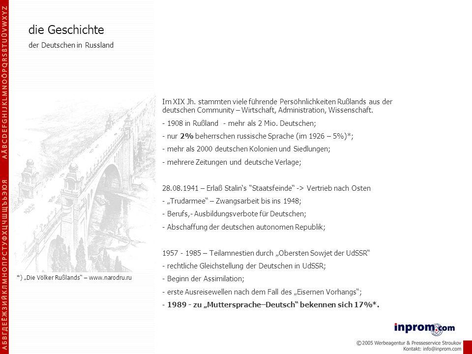 Im XIX Jh. stammten viele führende Persöhnlichkeiten Rußlands aus der deutschen Community – Wirtschaft, Administration, Wissenschaft. - 1908 in Rußlan