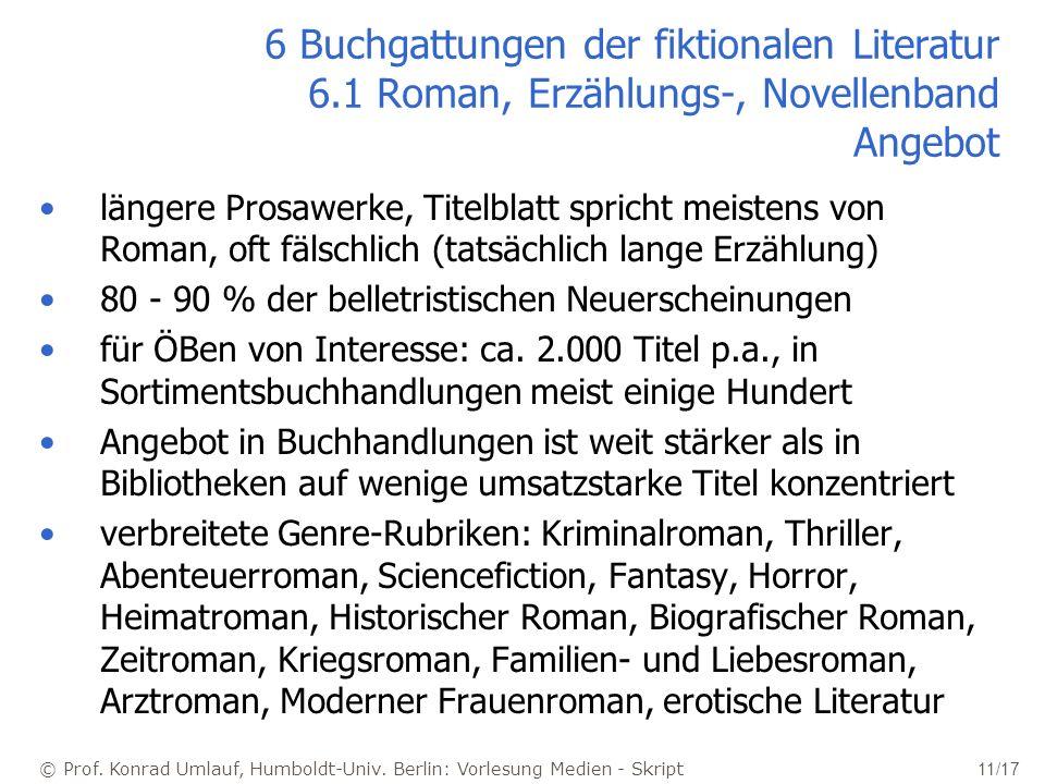 © Prof. Konrad Umlauf, Humboldt-Univ. Berlin: Vorlesung Medien - Skript 11/17 6 Buchgattungen der fiktionalen Literatur 6.1 Roman, Erzählungs-, Novell