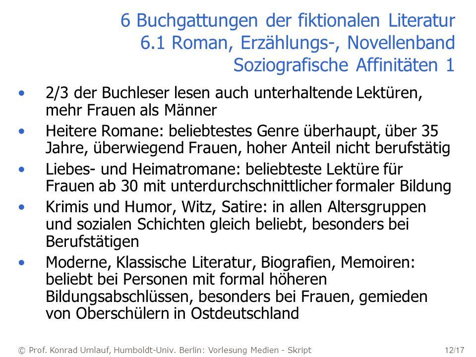 © Prof. Konrad Umlauf, Humboldt-Univ. Berlin: Vorlesung Medien - Skript 12/17 6 Buchgattungen der fiktionalen Literatur 6.1 Roman, Erzählungs-, Novell