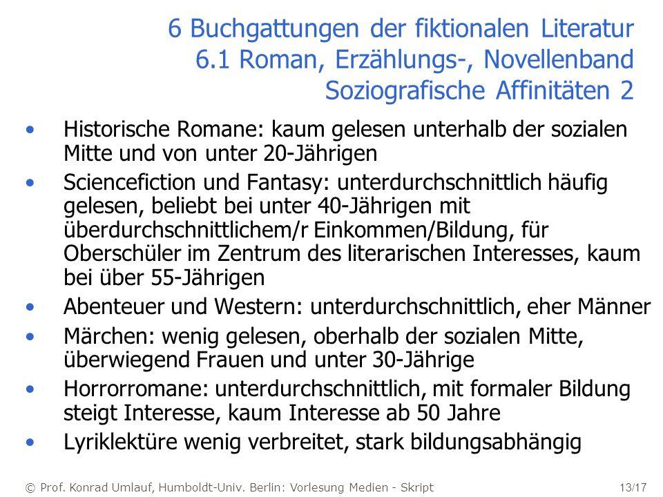 © Prof. Konrad Umlauf, Humboldt-Univ. Berlin: Vorlesung Medien - Skript 13/17 6 Buchgattungen der fiktionalen Literatur 6.1 Roman, Erzählungs-, Novell