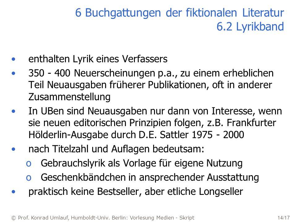 © Prof. Konrad Umlauf, Humboldt-Univ. Berlin: Vorlesung Medien - Skript 14/17 6 Buchgattungen der fiktionalen Literatur 6.2 Lyrikband enthalten Lyrik