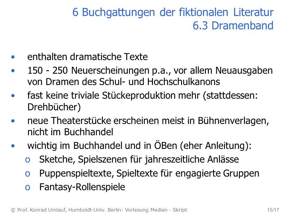 © Prof. Konrad Umlauf, Humboldt-Univ. Berlin: Vorlesung Medien - Skript 15/17 6 Buchgattungen der fiktionalen Literatur 6.3 Dramenband enthalten drama