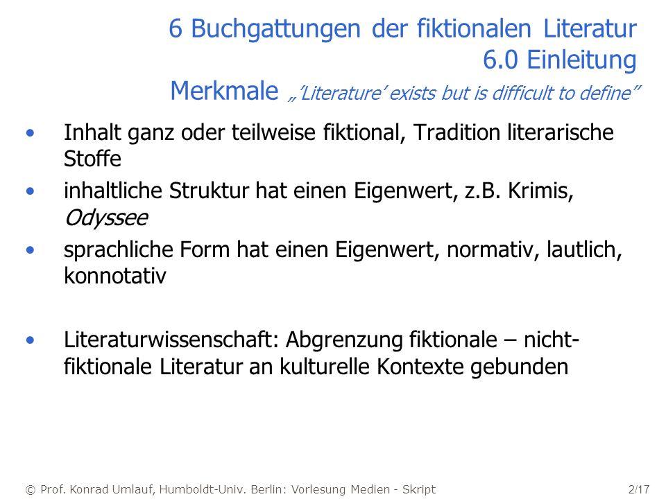 © Prof. Konrad Umlauf, Humboldt-Univ. Berlin: Vorlesung Medien - Skript 2/17 6 Buchgattungen der fiktionalen Literatur 6.0 Einleitung Merkmale Literat