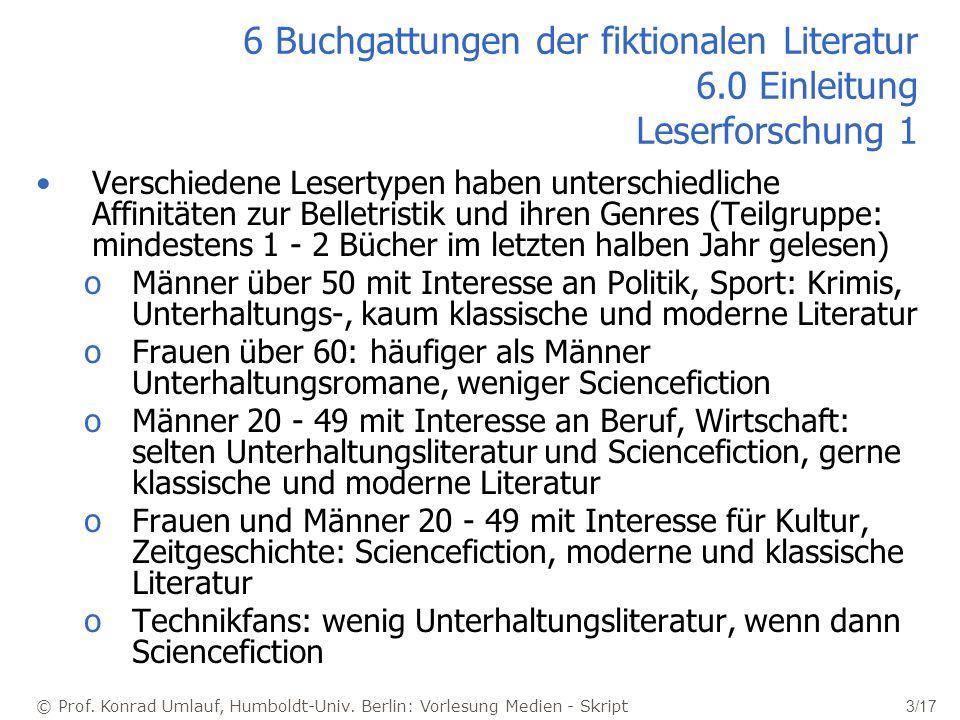 © Prof. Konrad Umlauf, Humboldt-Univ. Berlin: Vorlesung Medien - Skript 3/17 6 Buchgattungen der fiktionalen Literatur 6.0 Einleitung Leserforschung 1