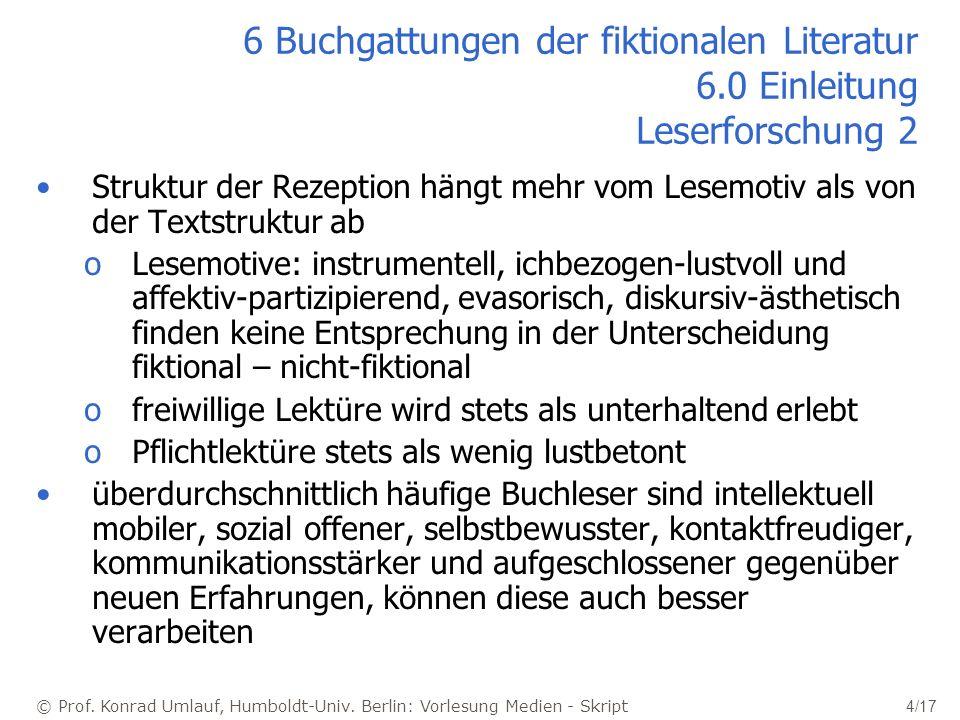 © Prof. Konrad Umlauf, Humboldt-Univ. Berlin: Vorlesung Medien - Skript 4/17 6 Buchgattungen der fiktionalen Literatur 6.0 Einleitung Leserforschung 2
