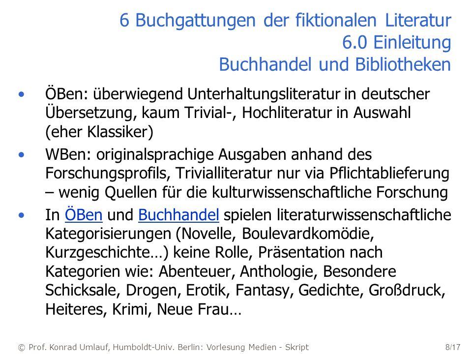 © Prof. Konrad Umlauf, Humboldt-Univ. Berlin: Vorlesung Medien - Skript 8/17 6 Buchgattungen der fiktionalen Literatur 6.0 Einleitung Buchhandel und B