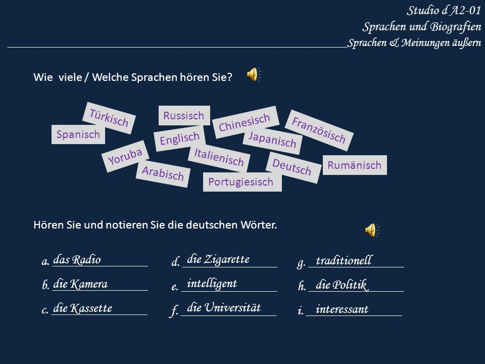 Studio d A2-01 Sprachen und Biografien ________________________________________________________Sprachen & Meinungen äußern Wie viele / Welche Sprachen