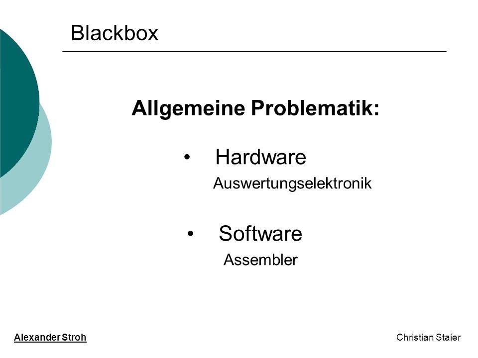 Blackbox Alexander Stroh Christian Staier Allgemeine Problematik: Hardware Auswertungselektronik Software Assembler
