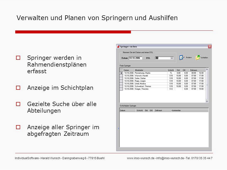 IndividualSoftware - Harald Wunsch - Danngrabenweg 6 - 77815 Buehl www.inso-wunsch.de - info@inso-wunsch.de - Tel. 0170/ 35 35 44 7 Verwalten und Plan