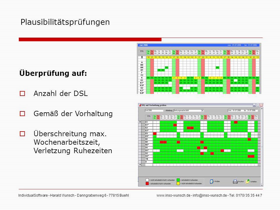 IndividualSoftware - Harald Wunsch - Danngrabenweg 6 - 77815 Buehl www.inso-wunsch.de - info@inso-wunsch.de - Tel. 0170/ 35 35 44 7 Plausibilitätsprüf