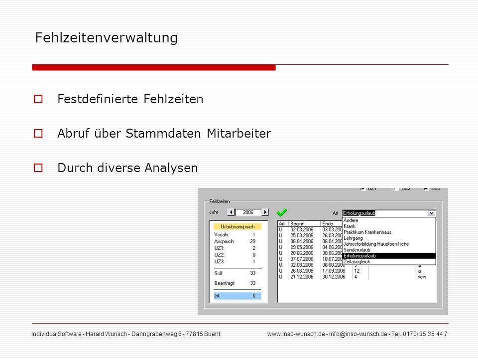 IndividualSoftware - Harald Wunsch - Danngrabenweg 6 - 77815 Buehl www.inso-wunsch.de - info@inso-wunsch.de - Tel. 0170/ 35 35 44 7 Fehlzeitenverwaltu