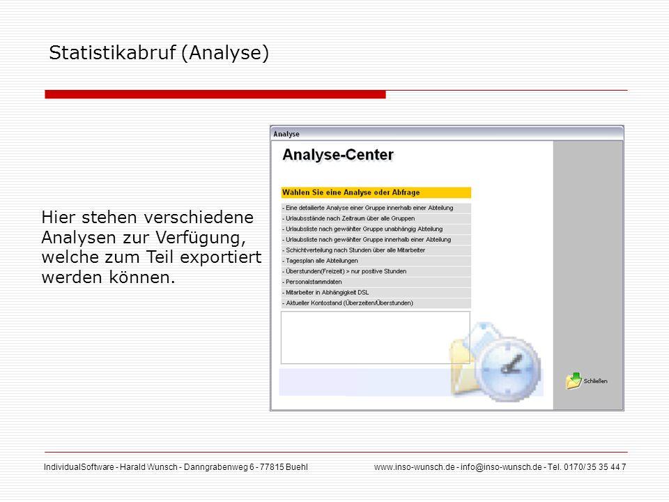 IndividualSoftware - Harald Wunsch - Danngrabenweg 6 - 77815 Buehl www.inso-wunsch.de - info@inso-wunsch.de - Tel. 0170/ 35 35 44 7 Statistikabruf (An