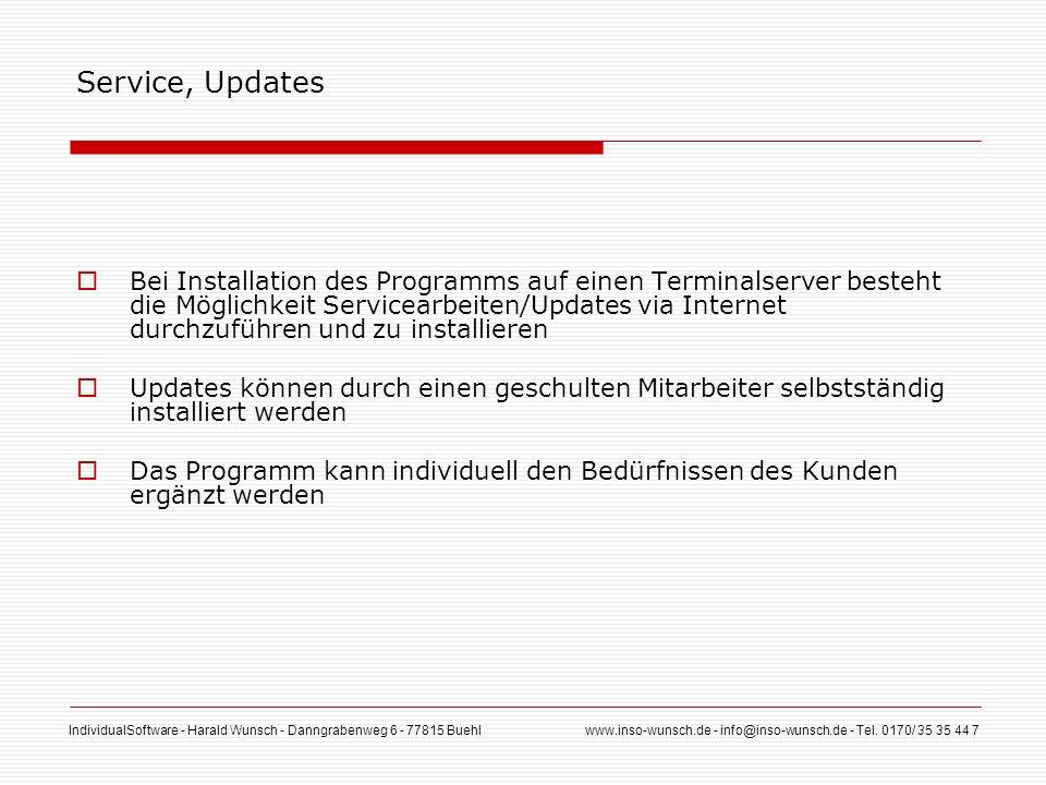 IndividualSoftware - Harald Wunsch - Danngrabenweg 6 - 77815 Buehl www.inso-wunsch.de - info@inso-wunsch.de - Tel. 0170/ 35 35 44 7 Service, Updates B