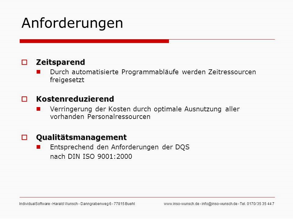 IndividualSoftware - Harald Wunsch - Danngrabenweg 6 - 77815 Buehl www.inso-wunsch.de - info@inso-wunsch.de - Tel. 0170/ 35 35 44 7 Anforderungen Zeit
