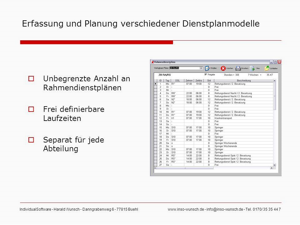 IndividualSoftware - Harald Wunsch - Danngrabenweg 6 - 77815 Buehl www.inso-wunsch.de - info@inso-wunsch.de - Tel. 0170/ 35 35 44 7 Erfassung und Plan