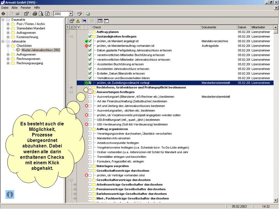 Es besteht auch die Möglichkeit, Prozesse übergeordnet abzuhaken. Dabei werden alle darin enthaltenen Checks mit einem Klick abgehakt.