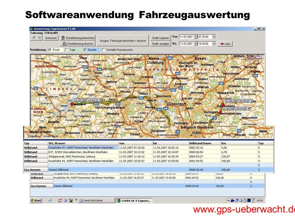 www.gps-ueberwacht.de Softwareanwendung Fahrzeugauswertung Übersicht der Fahrzeuge Zustandsanzeige Zündung An/Aus gesonderte Anzeige der Streckenlänge