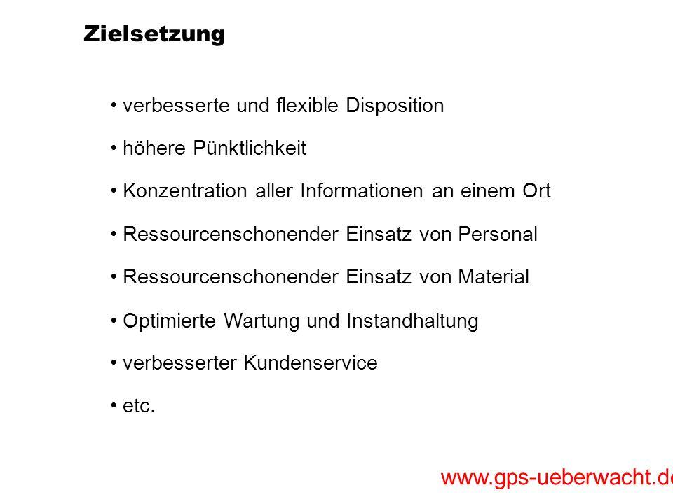 www.gps-ueberwacht.de Zielsetzung höhere Pünktlichkeit verbesserte und flexible Disposition Konzentration aller Informationen an einem Ort Ressourcens