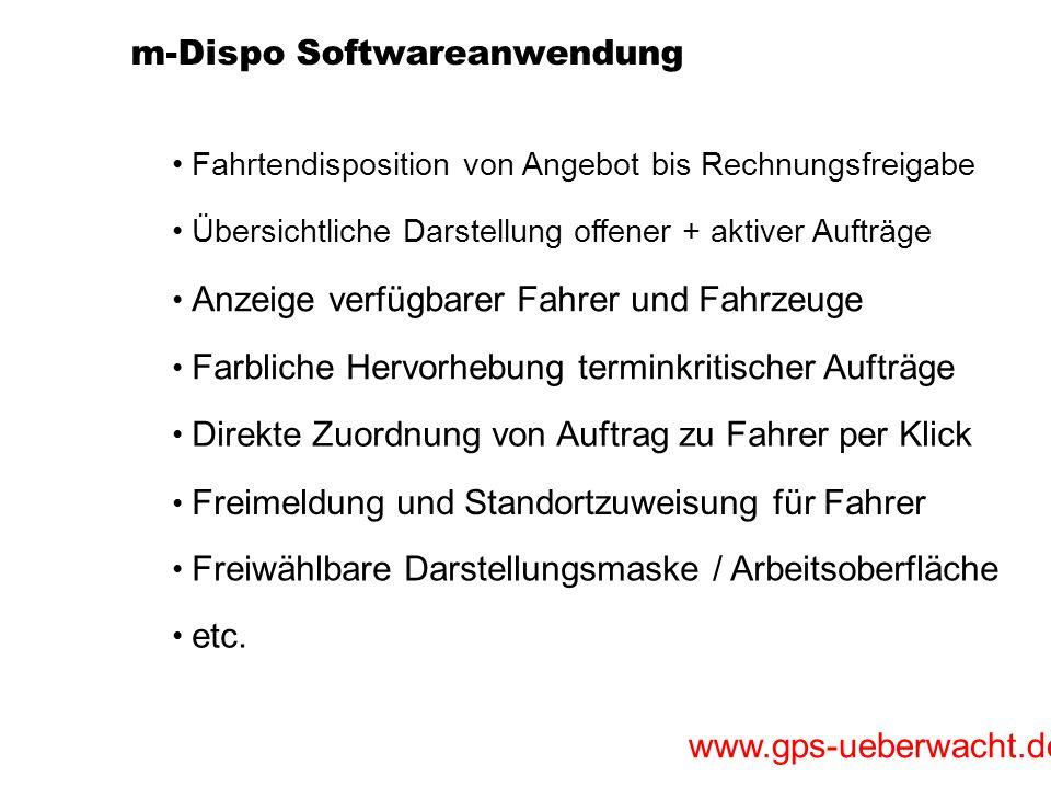 www.gps-ueberwacht.de m-Dispo Softwareanwendung Übersichtliche Darstellung offener + aktiver Aufträge Fahrtendisposition von Angebot bis Rechnungsfrei