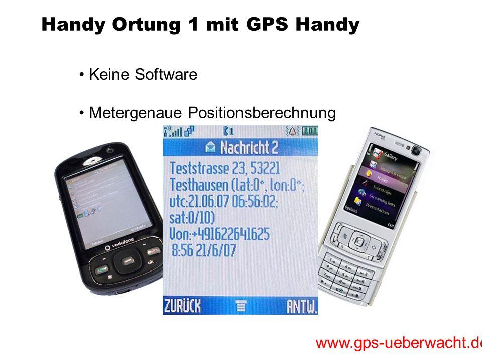 www.gps-ueberwacht.de Handy Ortung 1 mit GPS Handy Keine Software Metergenaue Positionsberechnung