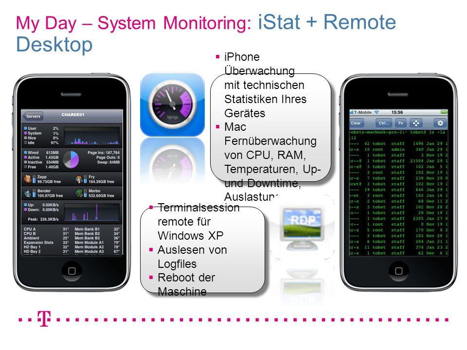 VGK4 3 My Day – System Monitoring: iStat + Remote Desktop iPhone Überwachung mit technischen Statistiken Ihres Gerätes Mac Fernüberwachung von CPU, RA