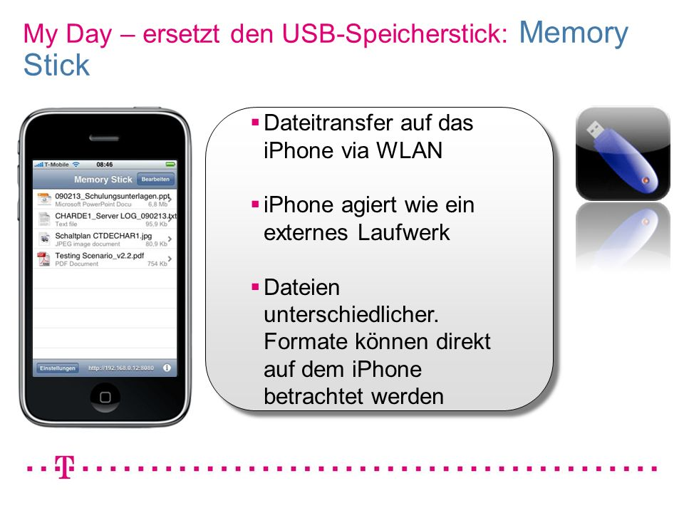 VGK4 3 My Day – ersetzt den USB-Speicherstick: Memory Stick Dateitransfer auf das iPhone via WLAN iPhone agiert wie ein externes Laufwerk Dateien unte