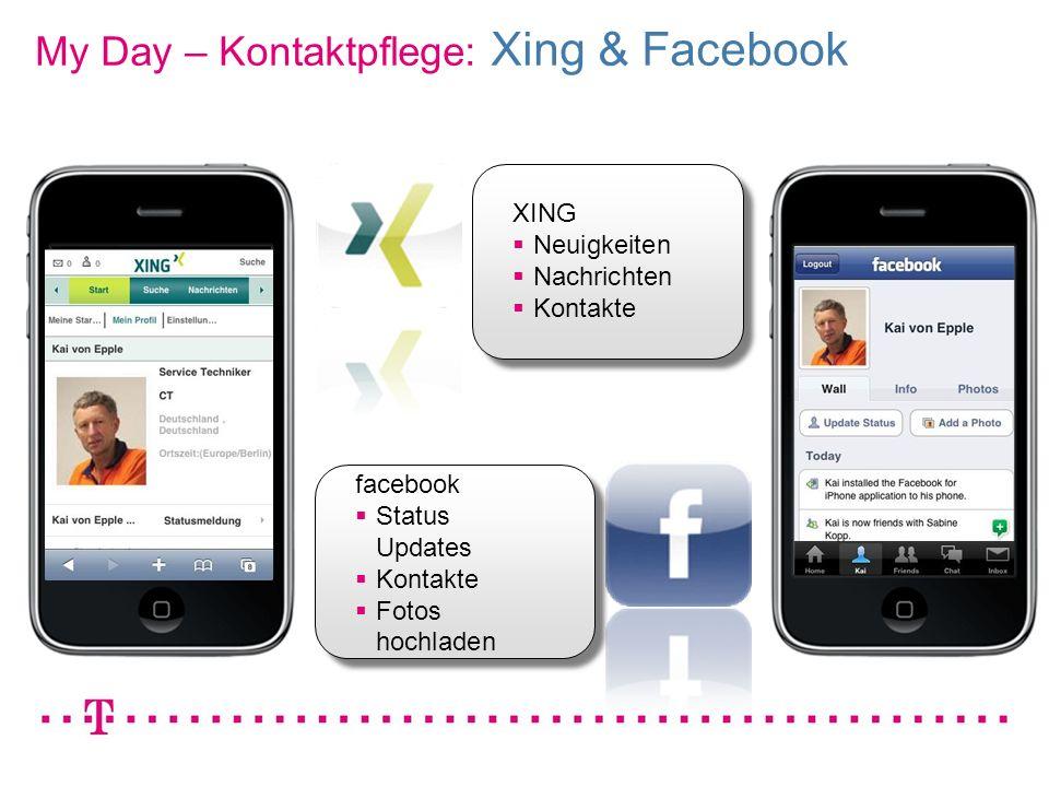 VGK4 3 XING Neuigkeiten Nachrichten Kontakte facebook Status Updates Kontakte Fotos hochladen My Day – Kontaktpflege: Xing & Facebook