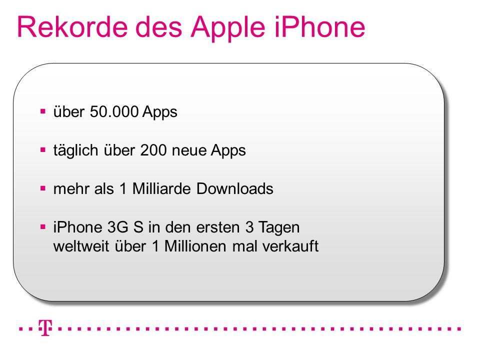 VGK4 3 Rekorde des Apple iPhone über 50.000 Apps täglich über 200 neue Apps mehr als 1 Milliarde Downloads iPhone 3G S in den ersten 3 Tagen weltweit