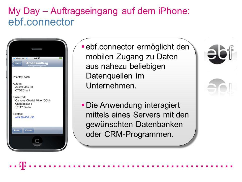 VGK4 3 My Day – Auftragseingang auf dem iPhone: ebf.connector ebf.connector ermöglicht den mobilen Zugang zu Daten aus nahezu beliebigen Datenquellen