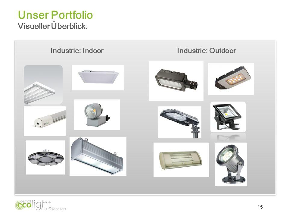 15 Unser Portfolio Visueller Überblick. Industrie: IndoorIndustrie: Outdoor