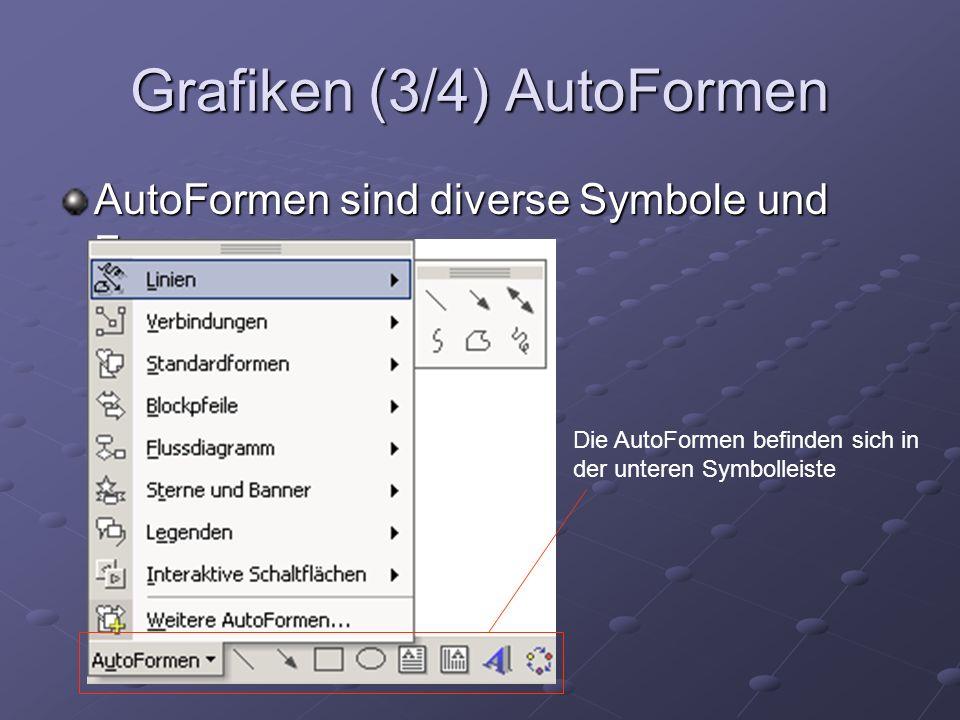 Grafiken (3/4) AutoFormen AutoFormen sind diverse Symbole und Formen Die AutoFormen befinden sich in der unteren Symbolleiste