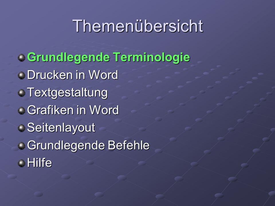 Themenübersicht Grundlegende Terminologie Drucken in Word Textgestaltung Grafiken in Word Seitenlayout Grundlegende Befehle Hilfe