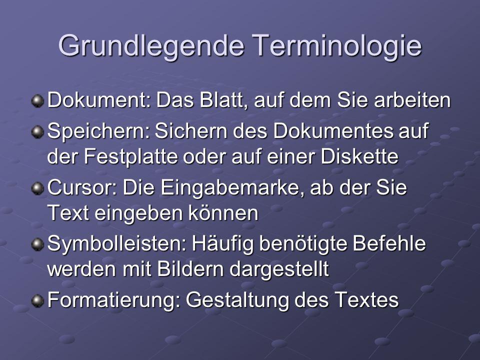 Grundlegende Terminologie Dokument: Das Blatt, auf dem Sie arbeiten Speichern: Sichern des Dokumentes auf der Festplatte oder auf einer Diskette Curso