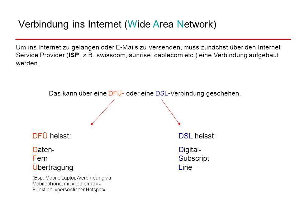 Verbindung ins Internet (Wide Area Network) Um ins Internet zu gelangen oder E-Mails zu versenden, muss zunächst über den Internet Service Provider (I