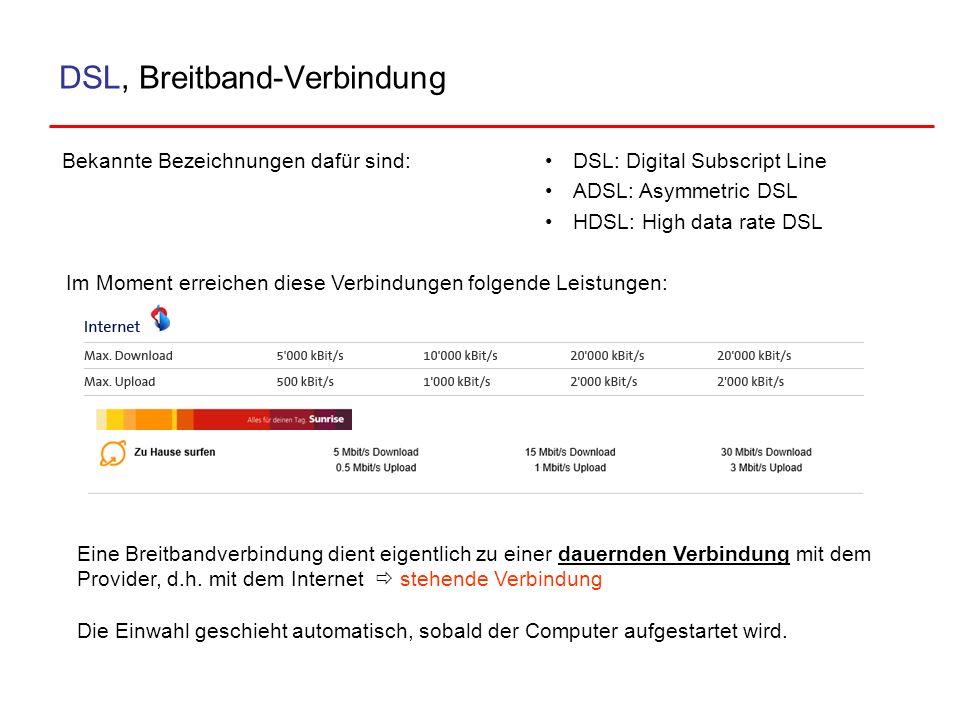 DSL, Breitband-Verbindung Bekannte Bezeichnungen dafür sind: Eine Breitbandverbindung dient eigentlich zu einer dauernden Verbindung mit dem Provider,