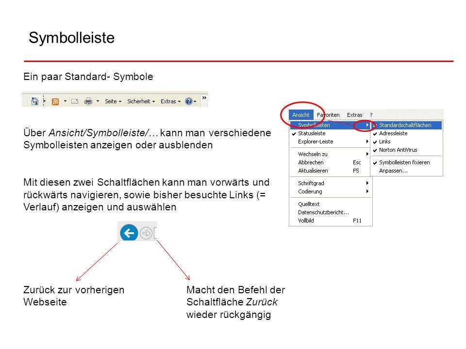 Symbolleiste Ein paar Standard- Symbole Über Ansicht/Symbolleiste/… kann man verschiedene Symbolleisten anzeigen oder ausblenden Mit diesen zwei Schal