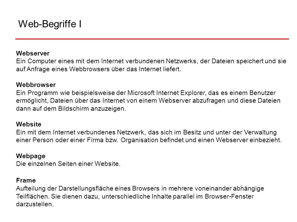 Web-Begriffe I Webserver Ein Computer eines mit dem Internet verbundenen Netzwerks, der Dateien speichert und sie auf Anfrage eines Webbrowsers über d